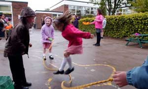 Children playing in the playground at Pembury primary school in Kent