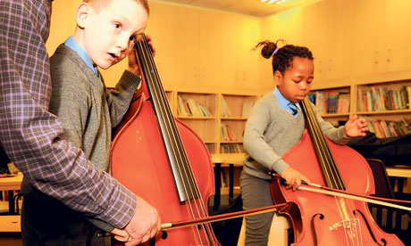 Kensington pupils learn the double bass with a musician from the Royal Liverpool Philharmonic Orchestra. Photograph: Chris Thomond