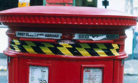 A sealed post box during a postal strike