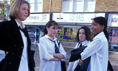 group of school girls out on the street