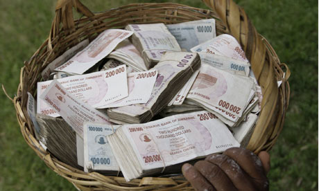 A basket full of cash in Zimbabwe