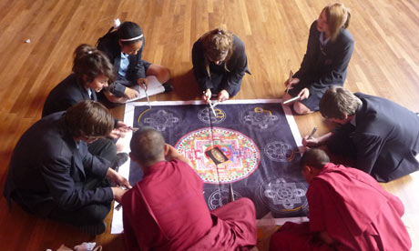 Tibetan monks visit Essex school