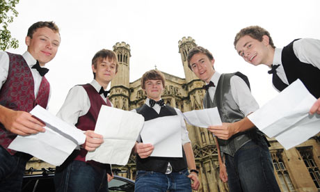 Barber's shop musicians who all gained straight A grade results at St Peter's School, York