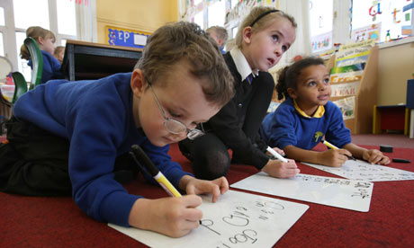 Pupils at Park primary school in Alloa, Clackmannanshire, engaged in the phonics programme