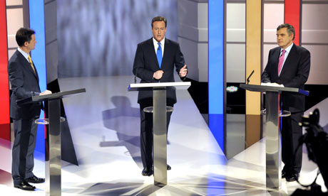 Liberal Democrat, Conservative and Labour party leaders at the first election debate in Manchester