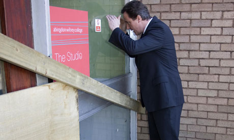 David Cameron views the stalled redevelopment at Abingdon and Witney,