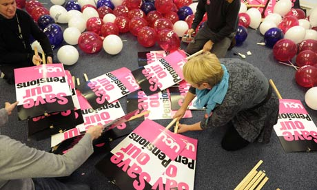 Unionists prepare placards for Wednesday's strike