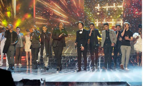 The X Factor contestants sing their charity single along with JLS and One Direction