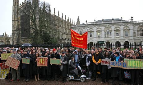 University academics opposed to government education policies protest at Cambridge University