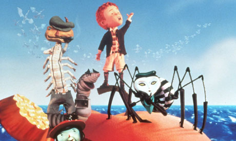 A still from the film of Roald Dahl's James and the Giant Peach which was published 50 years ago.