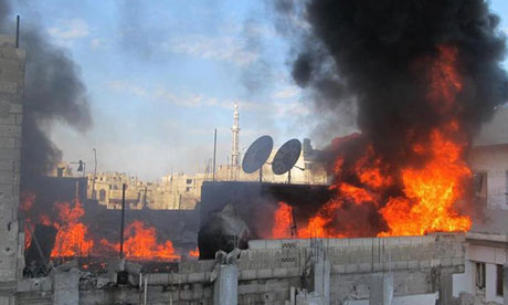 Fire on ta building in the Baba Amr neighborhoud of the flashpoint city of Homs
