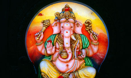 Multicoloured idols of Ganesh, the elephant-headed god, were found immersed in a lake in Hyderabad