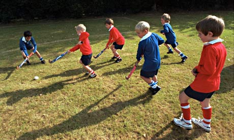 School children playing hockey: taking up exercise is always a good goal to have for the new year
