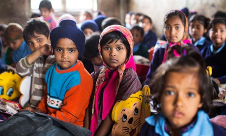 Children at Madanpur Khadar primary school in a district of New Delhi