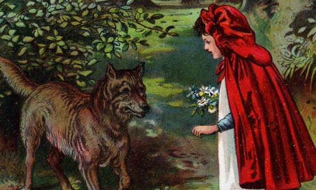 Lithograph depicting Little Red Riding Hood meeting the wolf in the woods