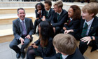 John Wilkinson, head of Elmgreen school, London, with year 11 pupils