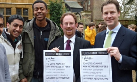 Nick Clegg signs tuition fee pledge