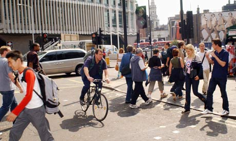 Bike blog: A naughty cyclist ignores the red light at a pedestrian crossing in central London