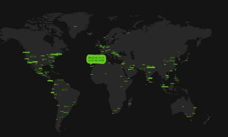 Screen-grab of Hopenhagen website world map with messages for COP15