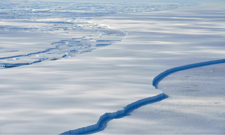 The Wilkins Ice Shelf off the Antarctic Peninsula is seen breaking up