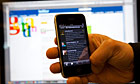 Guardian environment Twitter site, guardianeco, on an Apple iPhone