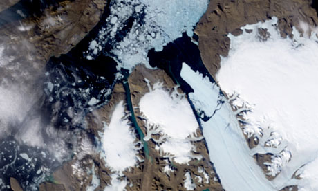 Ice Island calves off Petermann Glacier along the northwestern coast of Greenland, Arctic