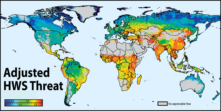 Threats To Environment. Map of global threats to human