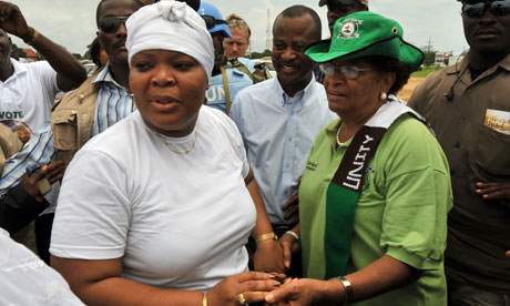MDG : Liberia elections : Nobel Peace Prize Leymah Gbowee meets President Ellen Johnson Sirleaf