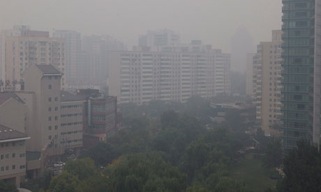 China air pollution : Haze over Beijing