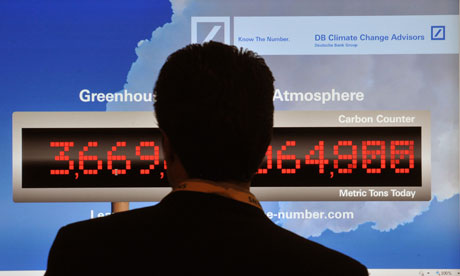 Duncan Q&A :a counter showing the greenhouse gases in the Earth's atmosphere during COP16