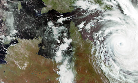 Cyclone Yasi approaching the northeast coast of Australia