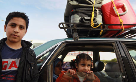 MDG : Libyan refugees at border with Egypt , Salum