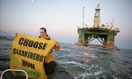 Greenpeace activists stop the Leiv Eiriksson Oil Rig from Turkey bound for Greenland