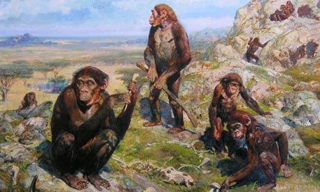 Australopithecus africanus by Czech painter and book illustrator Zdenek Burian