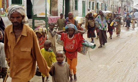 New internally displaced families from southern Somalia arrive in Mogadishu seeking for food and shelter earlier this month. Photograph: 