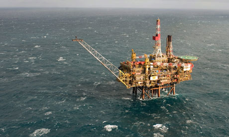 Oil spill in North sea : Sheel Gannet Alpha platform