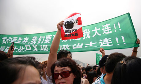 Jonathan Watts blog : Demonstrators protest against a petrochemical pollution in Dalian , China