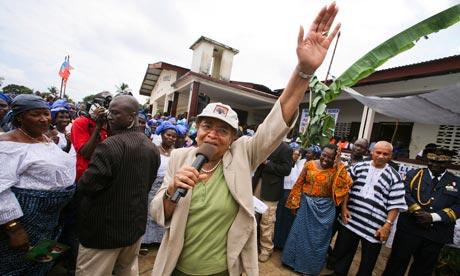 MDG : Election in Liberia : President of Liberia Ellen Johnson Sirleaf at a campaign rally, Monrovia