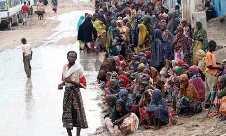 Famine in Horn of Africa : Food distribution centre at Badbaado settlement camp, Mogadishu, Somalia