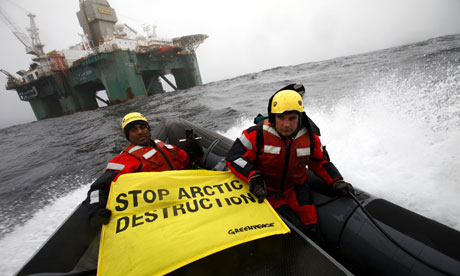 Greenpeace Kumi Naidoo Boards The Leiv Eiriksson one of Cairn Energy oil platform in the Arctic