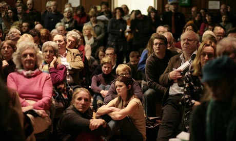 Campaigners at a public meeting in January to discuss the planned shale gas drilling and fracking site near Balcombe village, Sussex. Photograph: Martin Godwin for the Guardian