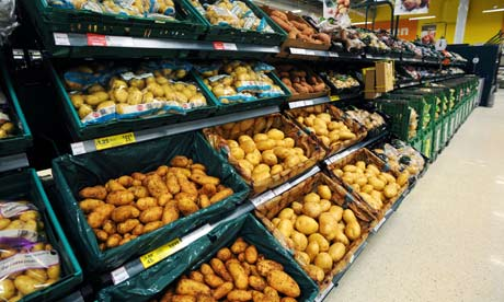 Food shortage and food crisis : potatoes on sale in supermarket