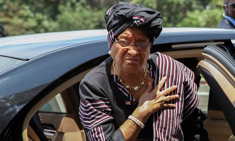 President of Liberia Ellen Johnson Sirleaf in Abidjan, Ivory Coast