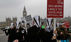 Backdropped by the Houses of Parliament protest against the British government badger cull