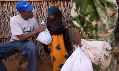 MDG : Islamic Relief hand out supplimentary feeding supplies to mothers and children in Kenya