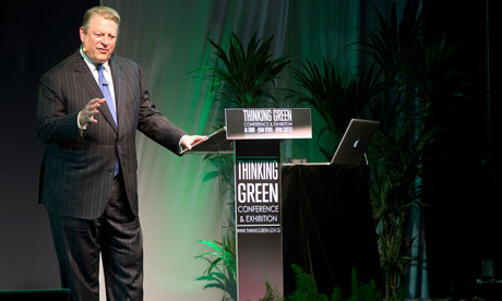 Al Gore gives a speech during the Thinking Green environmental forum in Gibraltar