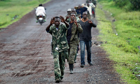 MDG : DRC Congo : Goma : A column  of Congolese  M23 rebels