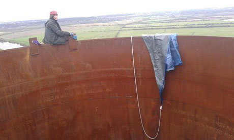 No Dash for Gas activist on top of one of the chemneys at At West Burton Power Station