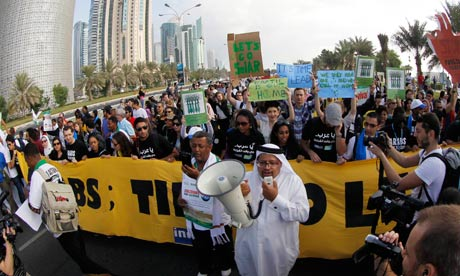 COP18 Doha : activist protest during UN climate talks