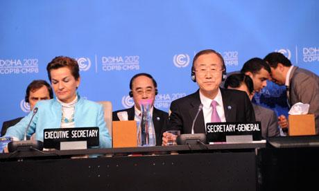 COP18 Doha : U.N. Secretary-General Ban Ki-moon an UNFCCC Executive Secretary Christiana Figueres